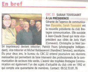 CBC22 -Sarah TOUSSAINT à la présidence