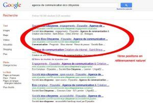 Exemple de positionnement sur Google
