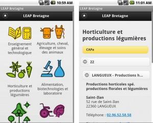 Capture d'écran du Site mobile LEAP Bretagne