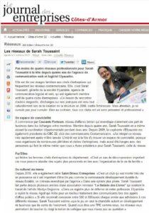 Les réseaux de Sarah Toussaint - Journal des Entreprises des Côtes d'Armor - Octobre 2012